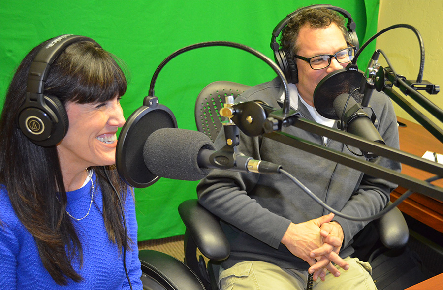Steven Jack Butala and Jill DeWit in the studio recording the Land Academy Show podcast